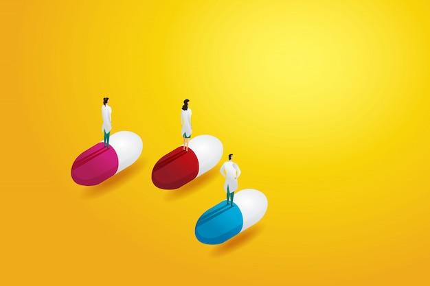 Gruppenarzt teamprofi, stehend auf pille. konzept der medizinischen behandlung für den menschen. illustration