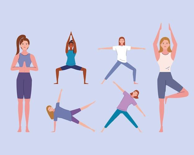 Gruppenfrauen, die yoga praktizieren