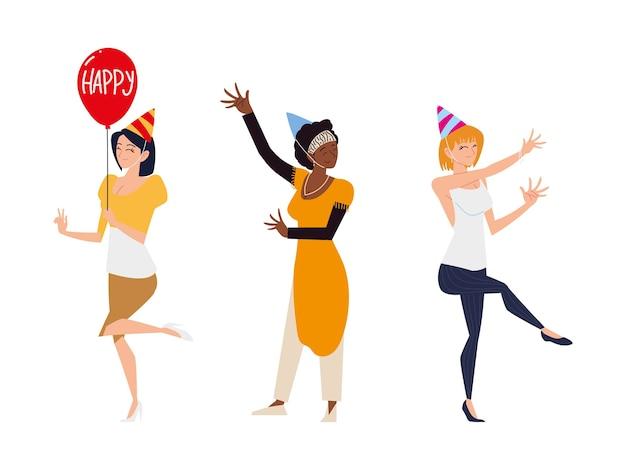 Gruppenfrauen mit partyhutballon feiern und tanzen