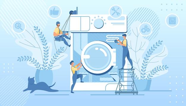 Gruppenhandwerker, die enorme defekte waschmaschine reparieren