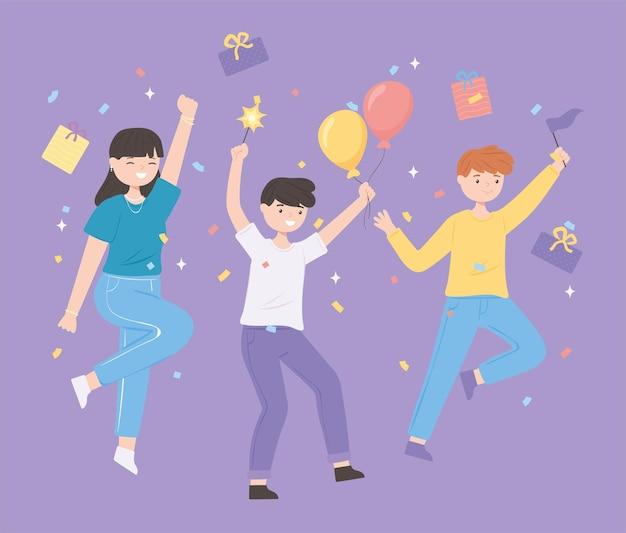 Gruppenjugend feiern