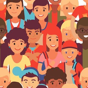 Gruppenjugendliches charaktermuster, illustration. junge zusammen studenten gehen, jugendliche leute verschiedene nation.