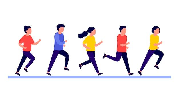 Gruppenleute betreiben aktiven sport