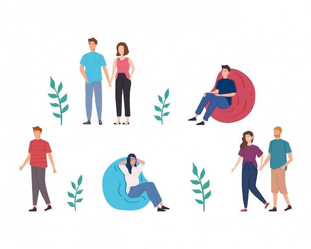 Gruppenleute, die aktivitäten avatar zeichen vektor-illustration design durchführen