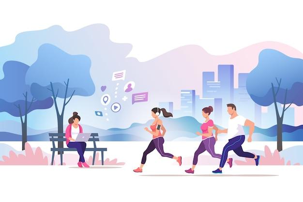 Gruppenleute, die im öffentlichen park der stadt laufen gesunder lebensstil training zum marathon-joggen trendy-stilillustration