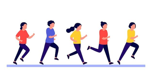 Gruppenleute, frauen, die sportlich aktiv sind, eile und eile frauen, die marathonrennen, joggen, laufen