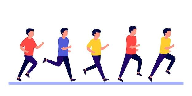 Gruppenleute männer machen sport, aktive eile und eile mann, der marathonrennen joggen läuft