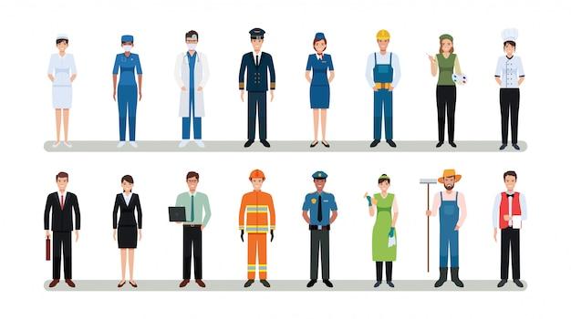 Gruppenmenschen des arbeiters des unterschiedlichen berufs, der im flachen ikonenentwurf der karikatur lokalisiert auf weißem hintergrund gesetzt wird