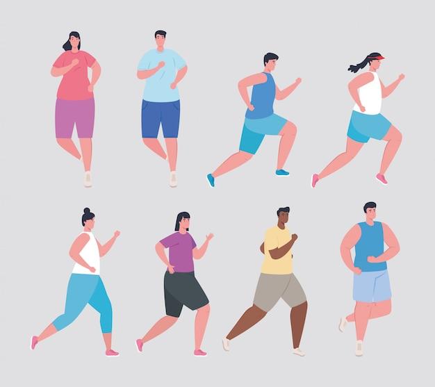 Gruppenmenschen marathonläufer, frauen und männer mit sportkleidung, marathonläufer-rennposter, gesunder lebensstil und sport