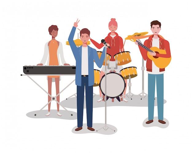 Gruppenmusikband, die instrumentcharaktere spielt