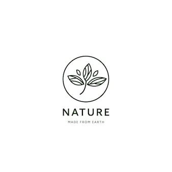 Gruppennaturblattlogo, linie monoline-stil ökologie produktsymbol logo