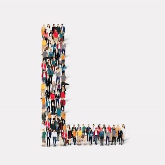 Gruppenpersonen briefform l. crowd-point-gruppe, die eine vorbestimmte form bildet.
