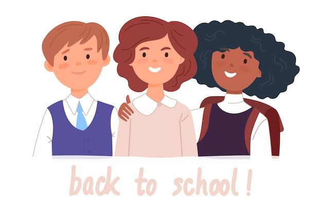Gruppenporträt von lächelnden schulkameraden, jungen und mädchen, die sich zusammen umarmen. glückliche schüler mit back to school-schriftzug. flache cartoon-vektor-illustration.
