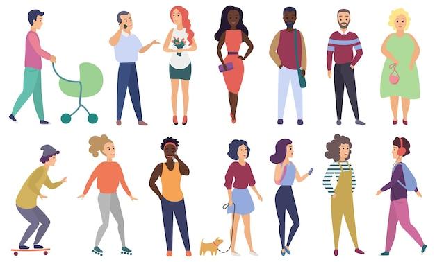 Gruppensatz von männlichen und weiblichen personen in freizeitkleidung