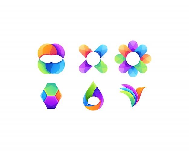 Gruppensatzlogodesign-vektorzusammenfassung