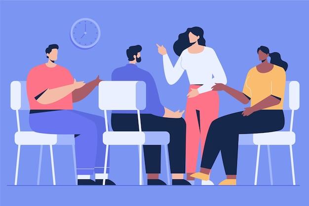Gruppentherapie flaches design