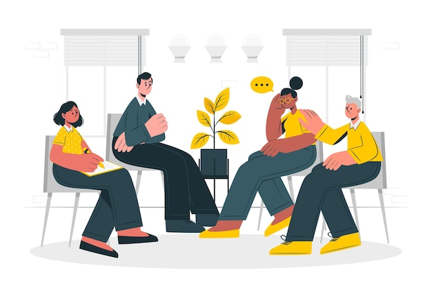 Gruppentherapie-konzeptillustration