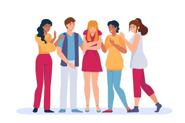 Gruppenunterstützung traurige person. freunde und familie trösten depressive und ängstliche frau in trauer. psychologische und empathie helfen vektorkonzept. illustrationsgruppe unterstützt traurige frau