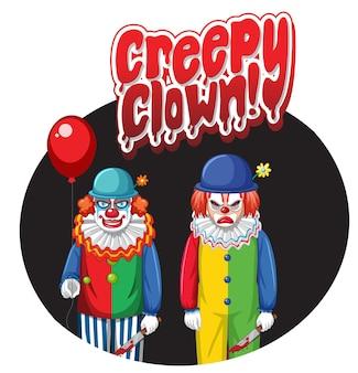 Grusel-clown-abzeichen mit zwei gruseligen clowns