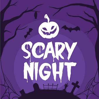 Grusel nacht und fledermäuse halloween schriftzug