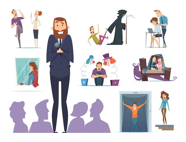 Gruselige charaktere. verschiedene ängste vor menschen nervöser panikfiguren mit ausdruck stehen vor phobie