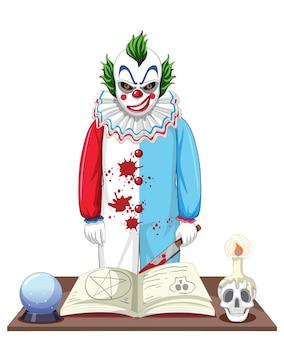 Gruselige clown-cartoon-figur auf weißem hintergrund