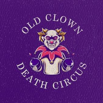 Gruselige clownillustration mit schmutzbeschaffenheit
