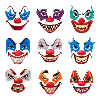Gruselige clownsgesichter