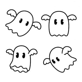 Gruselige geisterikone halloween zeichentrickfigur gekritzelillustration