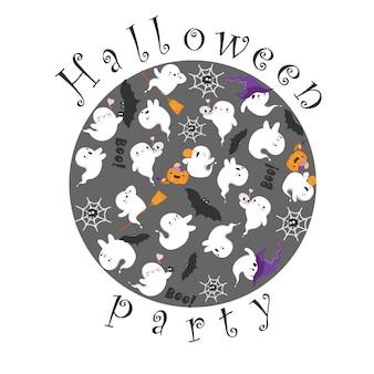 Gruselige gruselige halloween-geister süße kawaii-geister in einem kreisring-poster für eine halloween-party