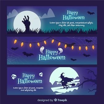 Gruselige halloween-banner mit flachem design