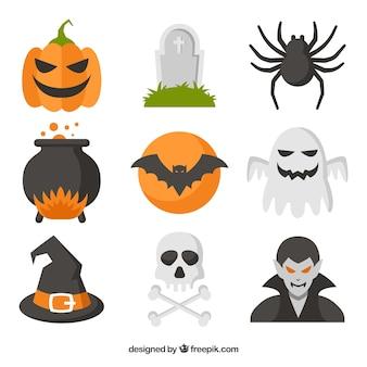 Gruselige halloween-elemente mit flachem design