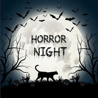 Gruselige halloween-hintergrund mit einer katze und fledermäuse