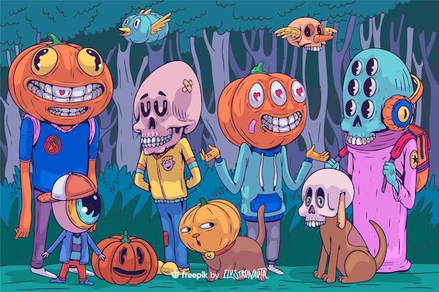 Gruselige halloween-illustration von kreaturen Kostenlosen Vektoren