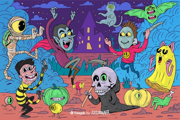 Gruselige halloween-illustration von kreaturen
