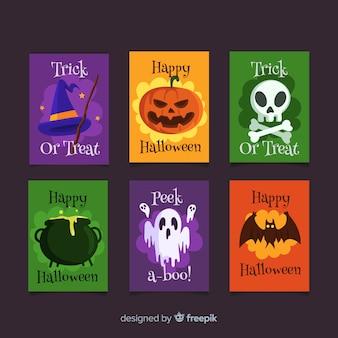 Gruselige halloween-kartensammlung