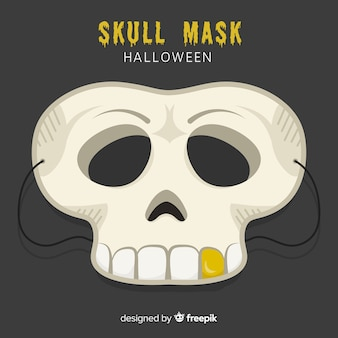 Gruselige halloween-maske mit flachem design