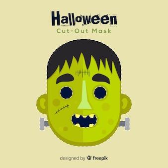 Gruselige halloween-maske mit flachem design Kostenlosen Vektoren