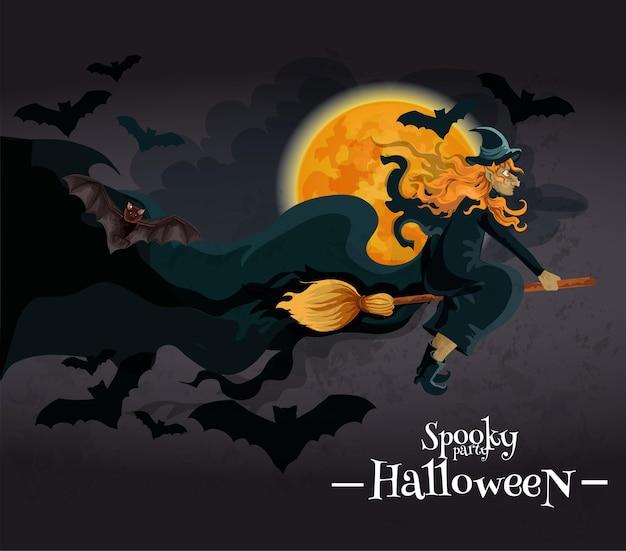 Gruselige halloween-party einladung