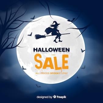 Gruselige halloween-verkaufszusammensetzung mit flachem design