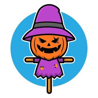 Gruselige halloween-vogelscheuche-illustration