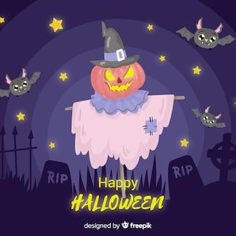 Gruselige hand gezeichneter halloween-hintergrund