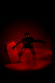 Gruselige illustration des zombies am friedhof