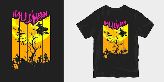 Gruselige illustrationsschattenbilder des halloween-t-shirt-entwurfs