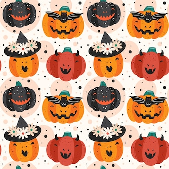 Gruselige kürbisse. teufel, hexe, vampir. nahtloses muster des glücklichen halloween