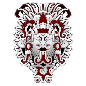 Gruselige maske des aztekischen volksgottes