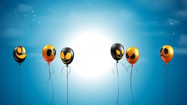Gruselige nacht mit fliegenden luftballons auf dunkelblauem himmel. glückliches halloween-banner