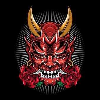 Gruselige oni-maske mit rose