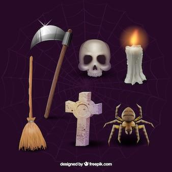 Gruselige packung von halloween-elementen