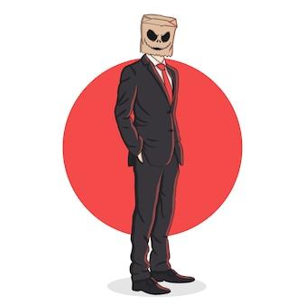Gruselige papiertüte kopf halloween-maske illustration